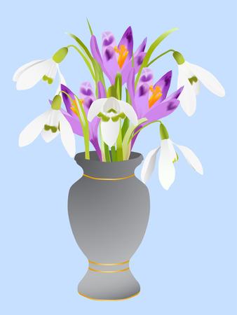 sepals: Spring flowers bouquet in vase on blue background (vector ) Illustration