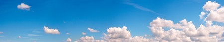 cumuli: Blue height sky above the forest with some clouds. Four shots stitch image. Stock Photo