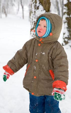 downcast: Portret of small boy in winter snow covered city park Stock Photo