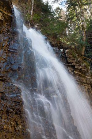 High mountain waterfall in dark wild Carpathian forest  (long exposure shooting) Stock Photo - 4756721