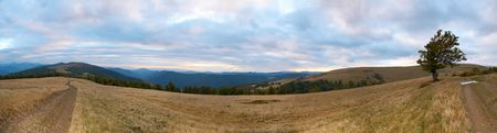 Carpathian Mountains (Ukraine) landscape with two country roads. Eight shots composite picture. photo