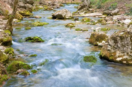 ripples and cascades on spring mountain river (Kokkozka River, Great Crimean Canyon, Ukraine). Long term exposure. Stock Photo - 4911263