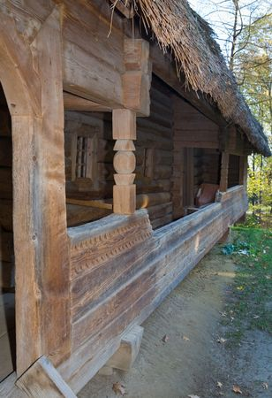 thatched roof: Entrance porch to Ukrainian historical country wooden hut with thatched roof.