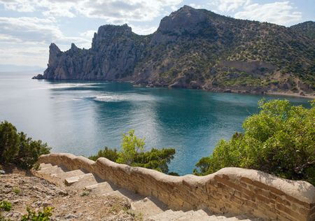 fanciful: Fanciful bay of Novyj Svit reserve (Crimea, Ukraine - descent from Kapchik cape and Rhinoceros cape behind)
