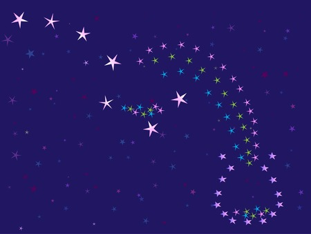 starlit: starry night sky and constellation  the Great Bear (vector illustration)
