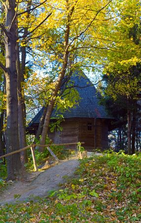 Ukrainian historical country wood church in forest photo