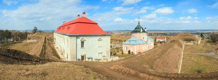 sobieski: Spring panorama view of old Zolochiv castle (Ukraine, Lviv Region, Dutch style, built in 1634-36 by Jakub Sobieski). Five shots stitch image.