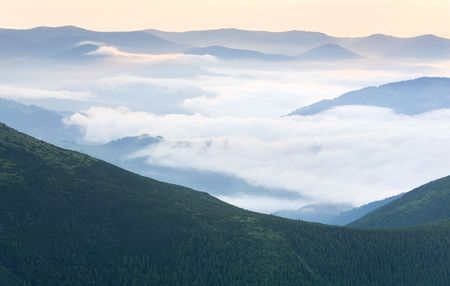 summer cloudy mountain landscape (Ukraine, Carpathian Mountains) Stock Photo - 6156173