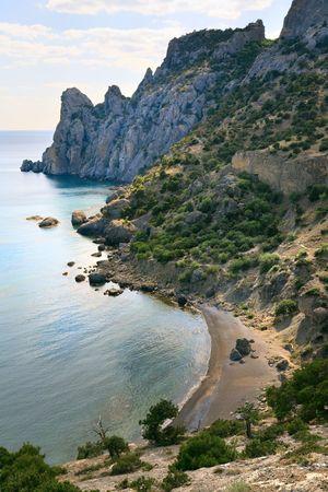 rocky mountain juniper: rocky coastline (Crimea, Ukraine, Novyj Svit reserve, Rhinoceros cape, Tsarist beach).