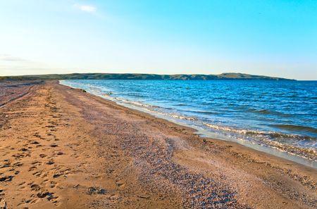azov sea: Summer sea sandy coastline (Azov Sea, Crimea, Ukraine)