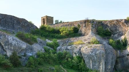 bower: Small stony bower on rock near ancient cave settlement Eski-Kermen (Crimea, Ukraine).