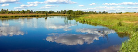 rushy: Summer rushy lake panorama view with clouds reflections. Six shots composite picture. Stock Photo