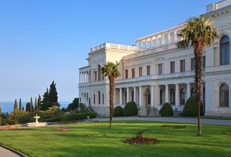 palacio ruso: Palacio de Livadia (retiro de verano del �ltimo zar de Rusia, Nicol�s II, Crimea, Ucrania). Construido en 1911 por el arquitecto Krasnov de Parque nacional.