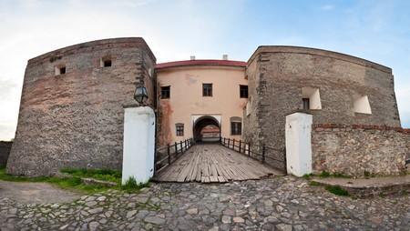 sobieski: View of bridge gate over the moat to old Zolochiv castle (Ukraine, Lviv Region, Dutch style, built in 1634-36 by Jakub Sobieski)
