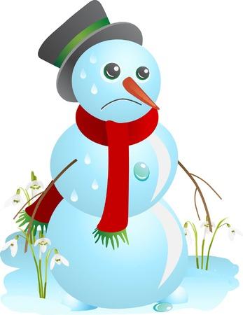thaw: Sad snowman melting in the spring (illustration) Illustration
