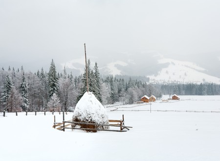 winter dull country mountain landscape with haystack Stock Photo - 7734102