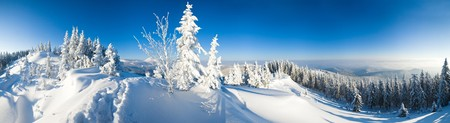 Winter calm mountain landscape (Carpathian Mountains, Ukraine). Eight shots stitch image. Stock Photo - 7837036