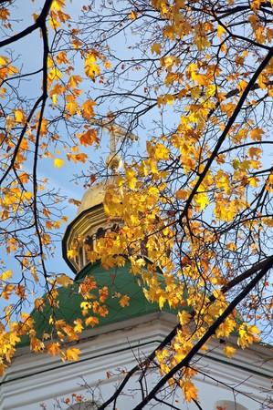 Autumn Saint Sophia Cathedral (http:en.wikipedia.orgwikiSaint_Sophia_Cathedral_in_Kiev) church building cupola view. Kiev-City centre, Ukraine. photo