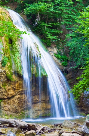 crimea: Summer mountain waterfall (Crimea, Ukraine)