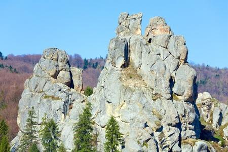 Urych Rocks view- on place of Tustanj historic fortress in Carpathian Mountains (Lviv Region, Ukraine).