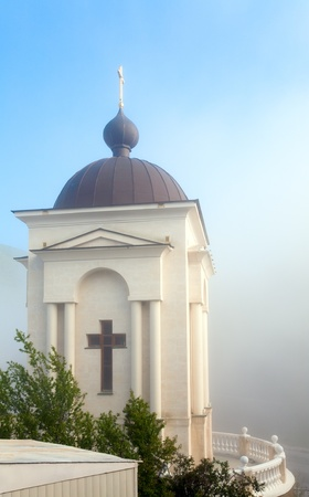 chappel: Orthodox mountain church chappel, Crimea, Ukraine, spring misty morning shot.