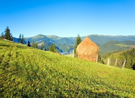 outskirts: Summer mountain village outskirts with field and haystack Stock Photo