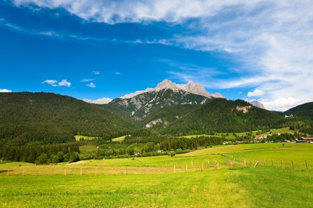 Alps mountain meadow tranquil summer view (Austria, Gosau village outskirts) photo