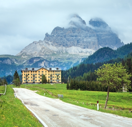 Tranquil summer Italian dolomites mountain view (way to Misurina lake and Rifugio Auronzo mount)
