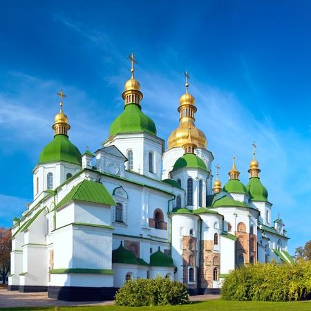 Morning Saint Sophia Cathedral church building view. Kiev-City centre, Ukraine.