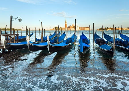 Parked gondolas on Piazza San Marco and The Doge's Palace embankment (Venice, Italy) Stock Photo - 10103870
