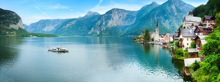Beautiful summer Alpine Hallstatt Town and lake Hallstatter See view (Austria). Two shots stitch image.
