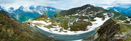 Summer Alps mountain (view from Grossglockner High Alpine Road). Three shots stitch image. photo