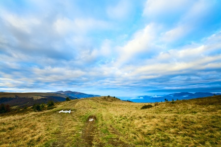 Autumn evening mountain plateau landscape  (Carpathian, Ukraine) Stock Photo - 10632362
