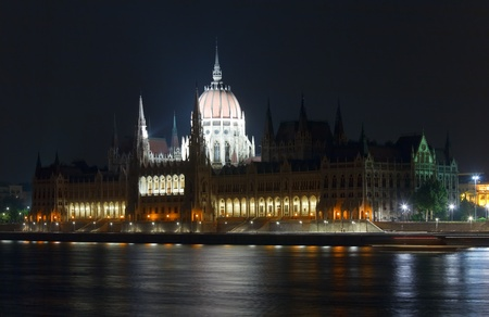 Hungarian landmark, Budapest Parliament night view. Long exposure. photo