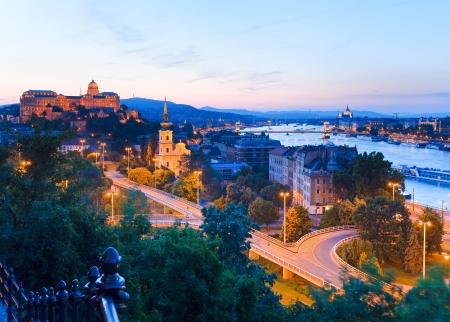 Budapest City night panorama uitzicht. Lange blootstelling.