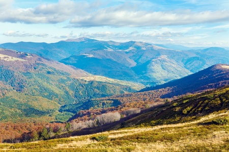Autumn mountains  with a stark bare trees on forest edge in front (Carpathian, Ukraine). Stock Photo