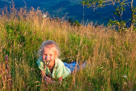 admire: Small girl in mountain wild grasses admire on yellow Swallowtail butterfly (last sunset light)