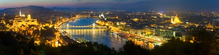 Budapest night panorama view. Long exposure (trees in the foreground out of focus and some in motion blur).