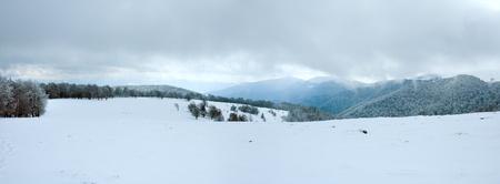 October mountain panorama with first winter snow (Carpathian, Ukraine) photo