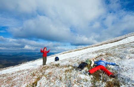 borghava: October Carpathian mountain Borghava plateau with first winter snow (and mother with children)