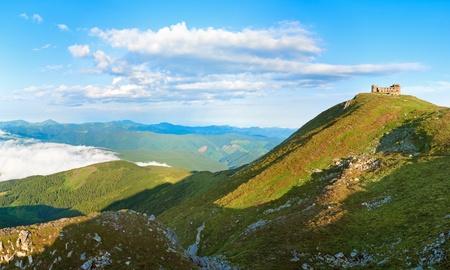 pip: Summer morning  Pip Ivan mountain top with observatory ruins (Chornogora Ridge, Carpathian, Ukraine)
