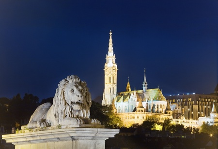 Hungarian landmark, Budapest night view. Long exposure.