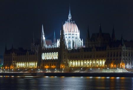 Hungarian landmark, Budapest Parliament night view. Long exposure. photo