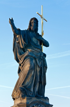 The statue of blessing St. John the Baptist on Charles Bridge (Prague, Czech Republic). Author  Josef Max , 1857. photo