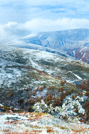 October Carpathian mountain Borghava plateau with first winter snow Stock Photo