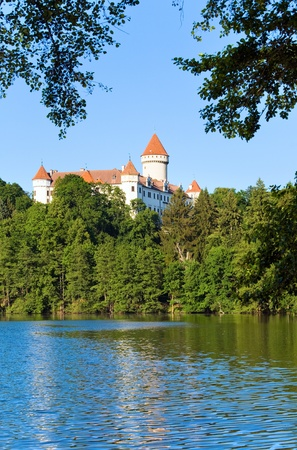 Historic medieval Konopiste Castle in Czech Republic ( central Bohemia, near Prague ) and summer pond near photo