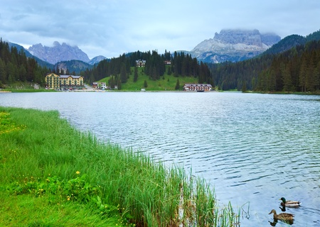 lake misurina: Beautiful summer Alpine  lake Misurina view (Austria)