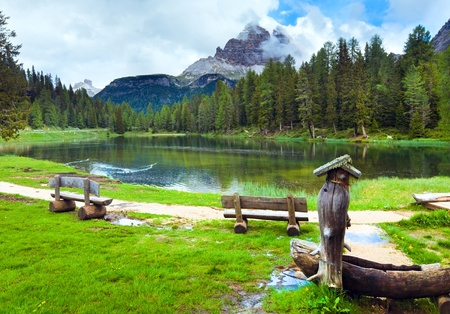 Beautiful summer Alpine  lake (lago di Antorno) view (Italia, Dolomites) photo