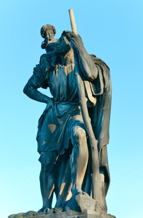 max: The statue of St. Christopher on Charles Bridge (Prague, Czech Republic). Author  Emanuel Max , 1857.
