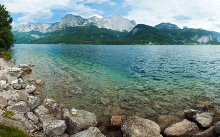 Beautiful summer Alpine  lake Grundlsee panorama (Austria).  Three shots composite picture.